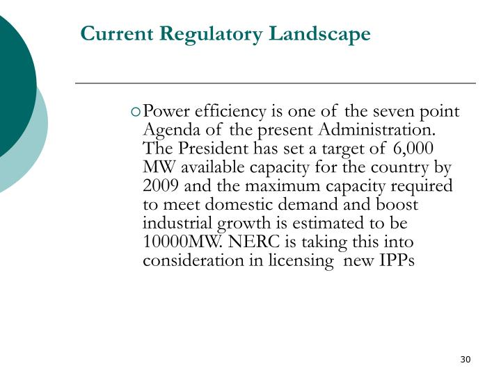 Current Regulatory Landscape