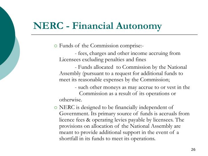 NERC - Financial Autonomy