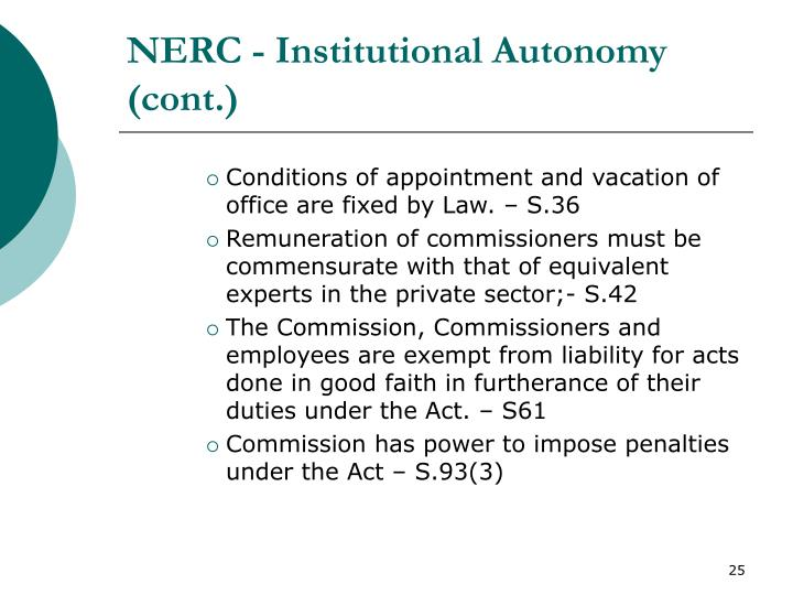 NERC - Institutional Autonomy (cont.)