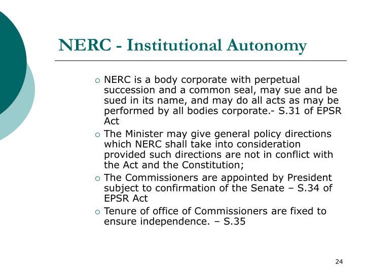 NERC - Institutional Autonomy
