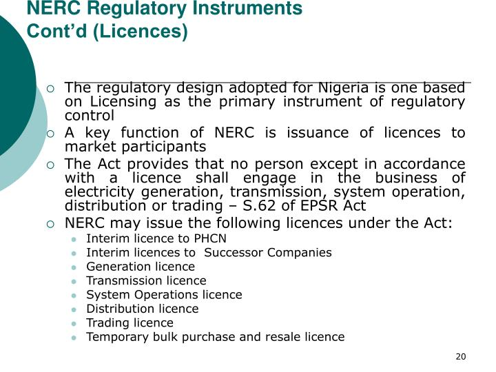 NERC Regulatory Instruments