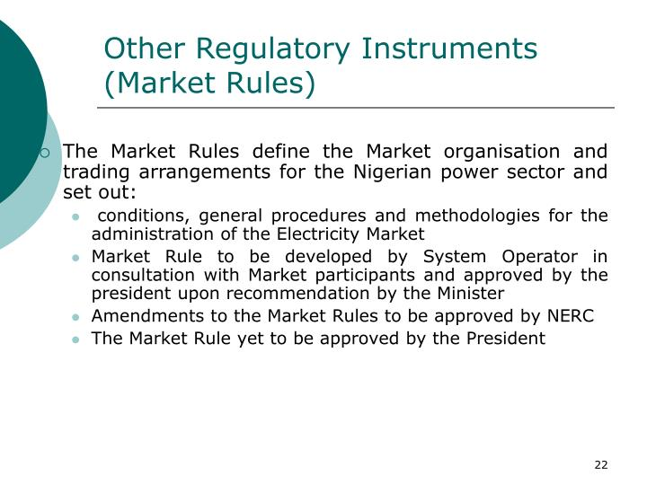 Other Regulatory Instruments
