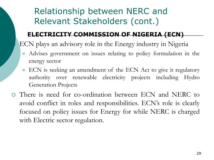 Relationship between NERC and Relevant Stakeholders (cont.)