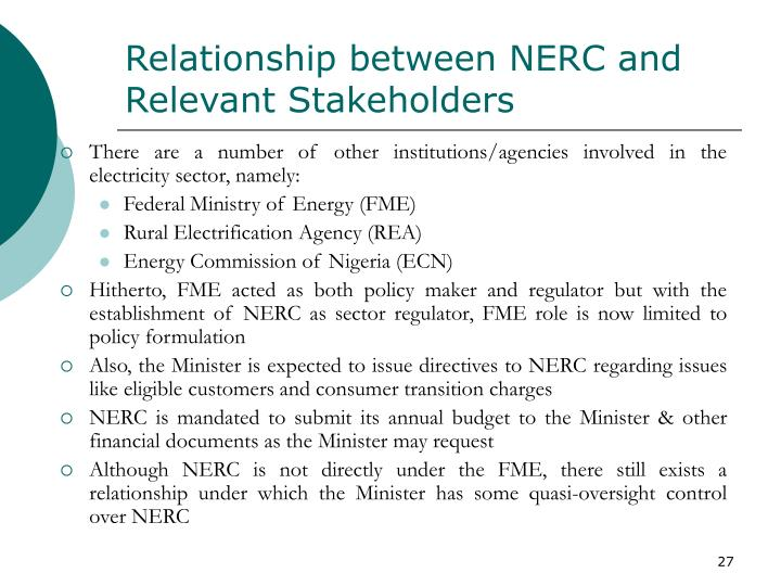 Relationship between NERC and Relevant Stakeholders