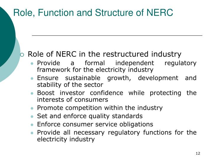Role, Function and Structure of NERC