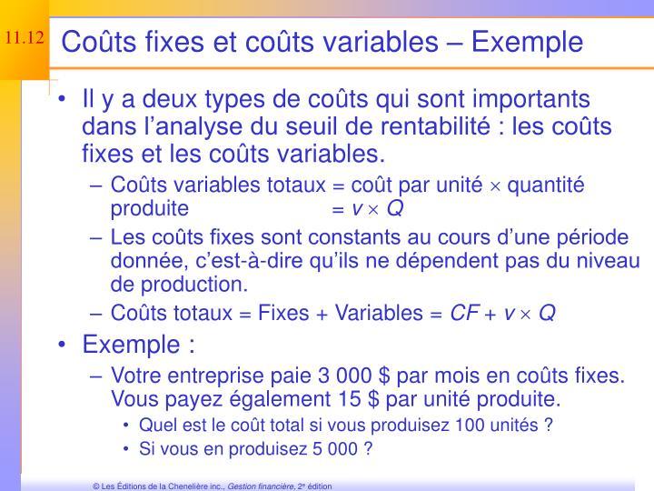Coûts fixes et coûts variables