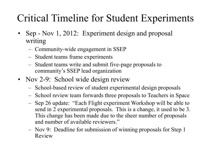 Critical Timeline for Student Experiments