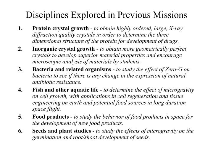 Disciplines Explored in Previous Missions