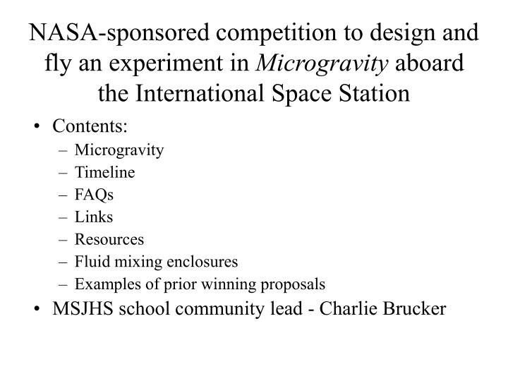 NASA-sponsored competition to design and fly an experiment in
