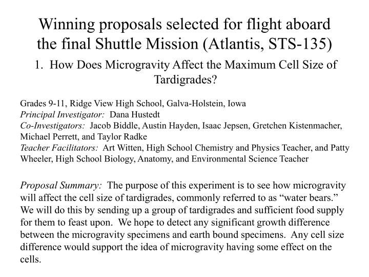 Winning proposals selected for flight aboard the final Shuttle Mission (Atlantis, STS-135)