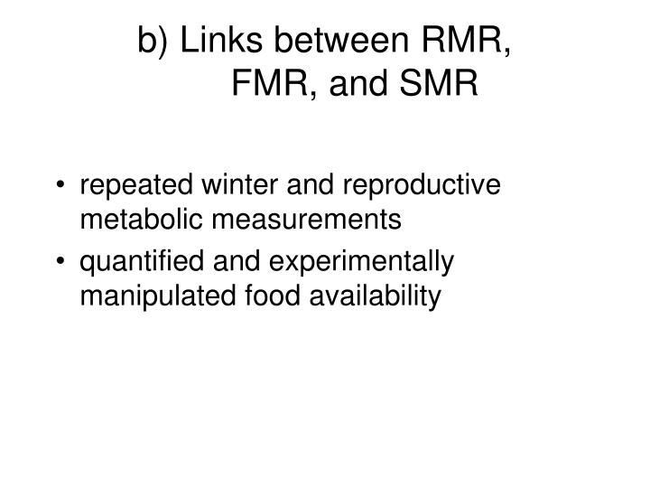 b) Links between RMR,