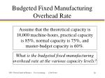 budgeted fixed manufacturing overhead rate1