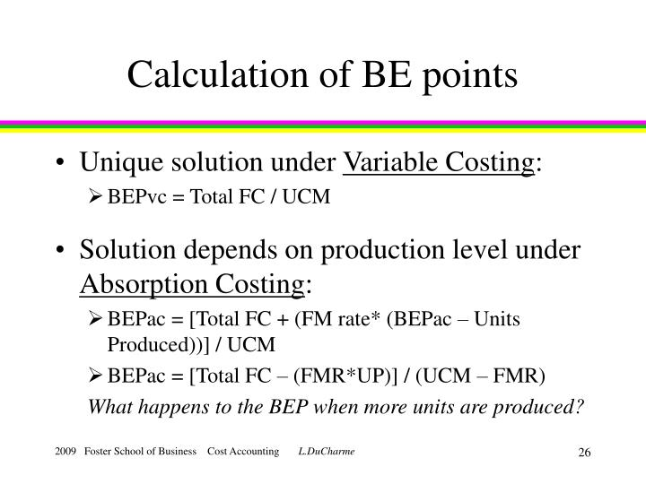 Calculation of BE points