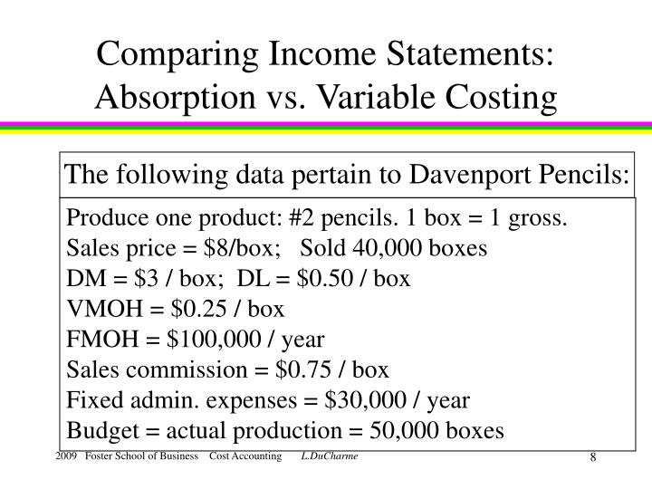 Comparing Income Statements: