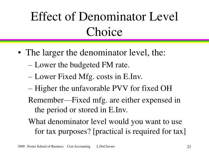 Effect of Denominator Level Choice