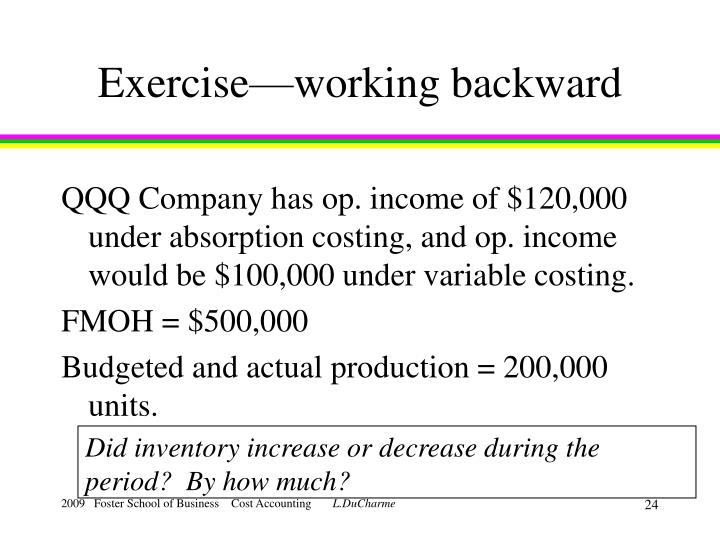 Exercise—working backward