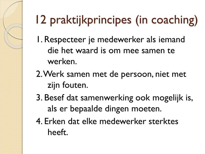 12 praktijkprincipes (in