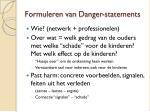formuleren van danger statements