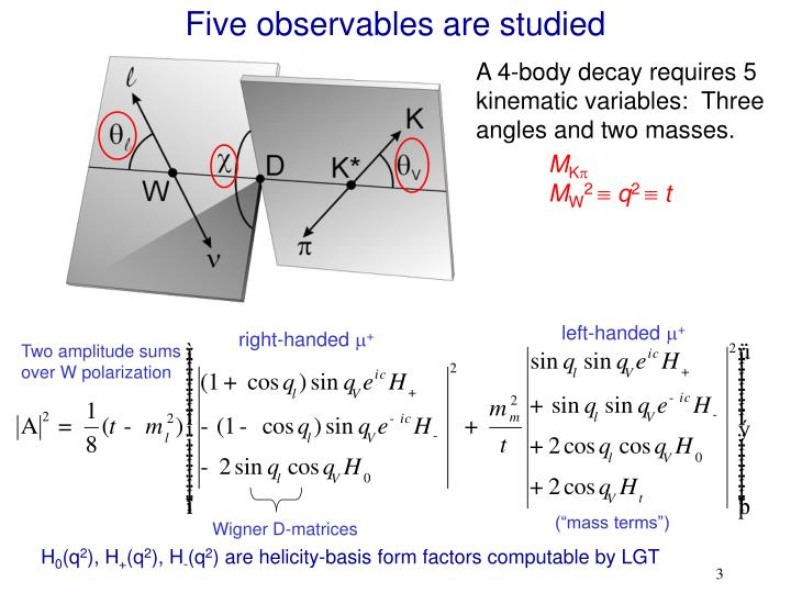 Five observables are studied