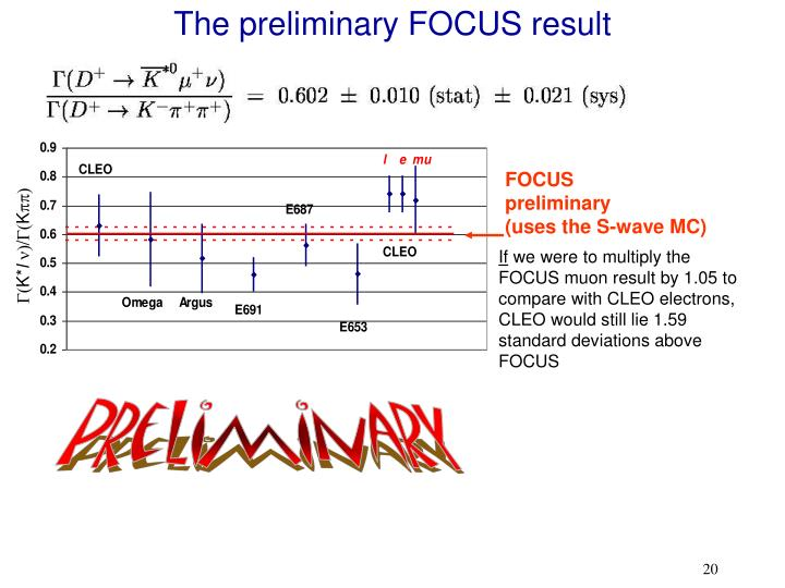 The preliminary FOCUS result