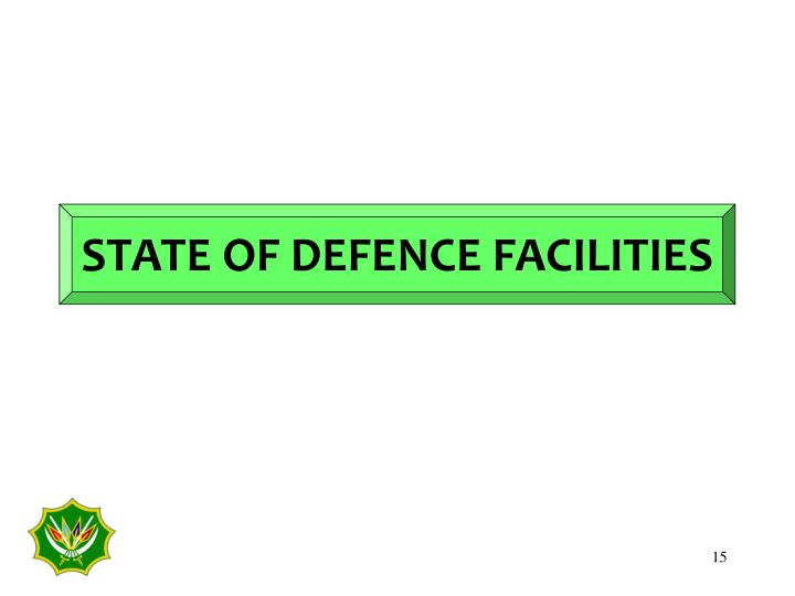 STATE OF DEFENCE FACILITIES