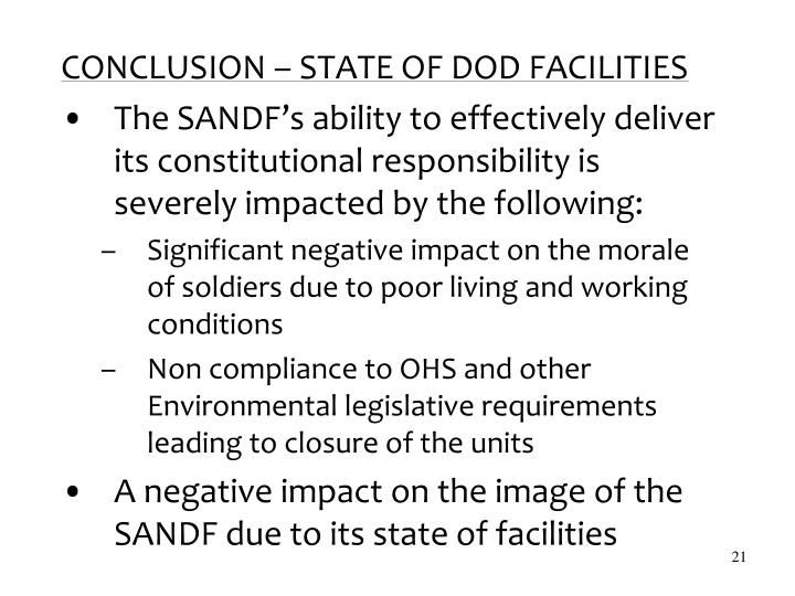 CONCLUSION – STATE OF DOD FACILITIES