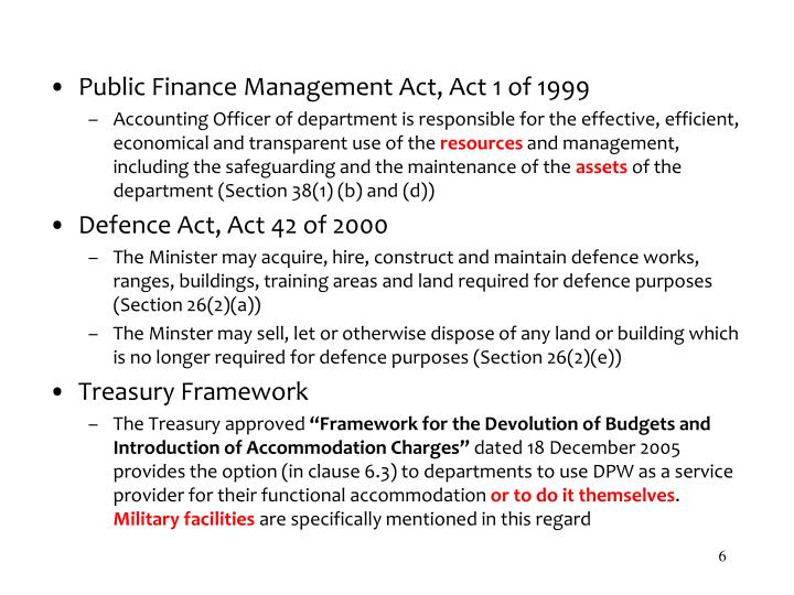 Public Finance Management Act, Act 1 of 1999