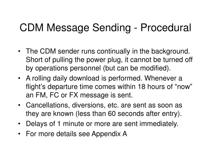CDM Message Sending - Procedural