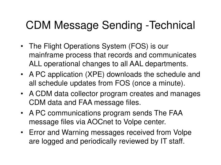CDM Message Sending -Technical