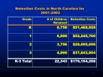 retention costs in north carolina for 2001 2002