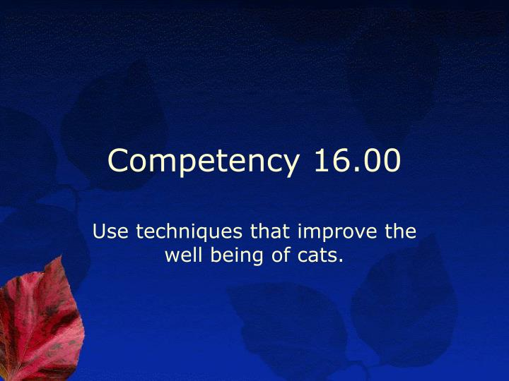 Competency 16.00