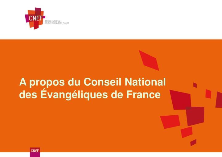 A propos du Conseil National des Évangéliques de France