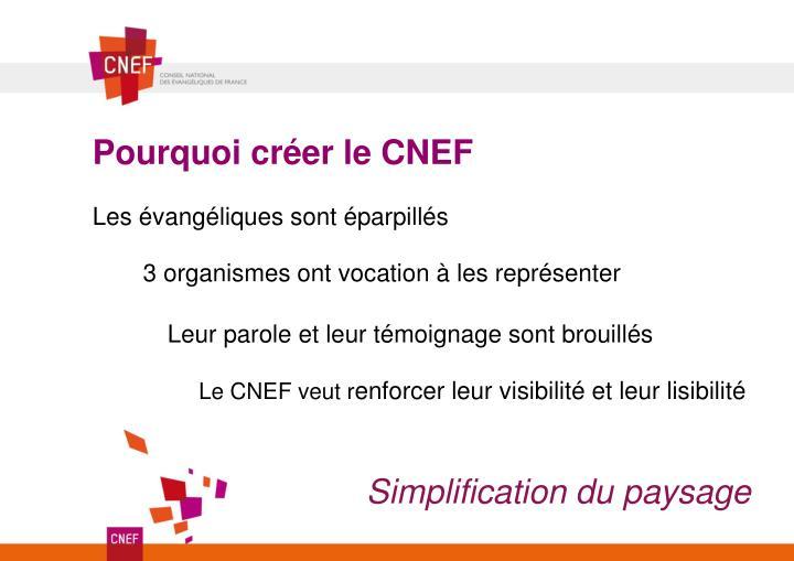Pourquoi créer le CNEF