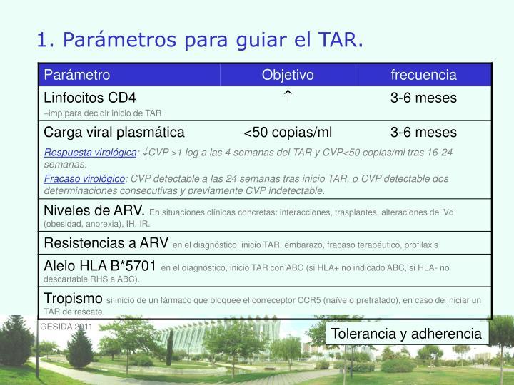 1. Parámetros para guiar el TAR.