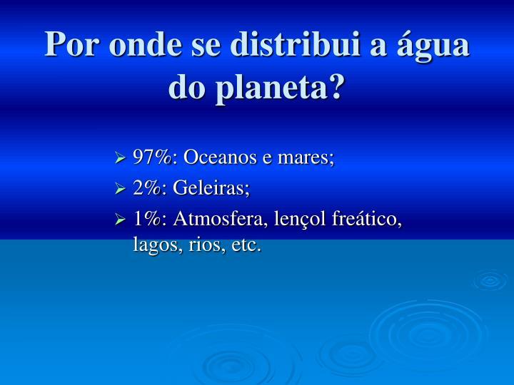 Por onde se distribui a água do planeta?