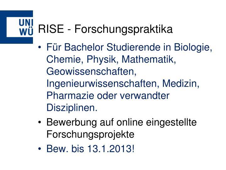 RISE - Forschungspraktika