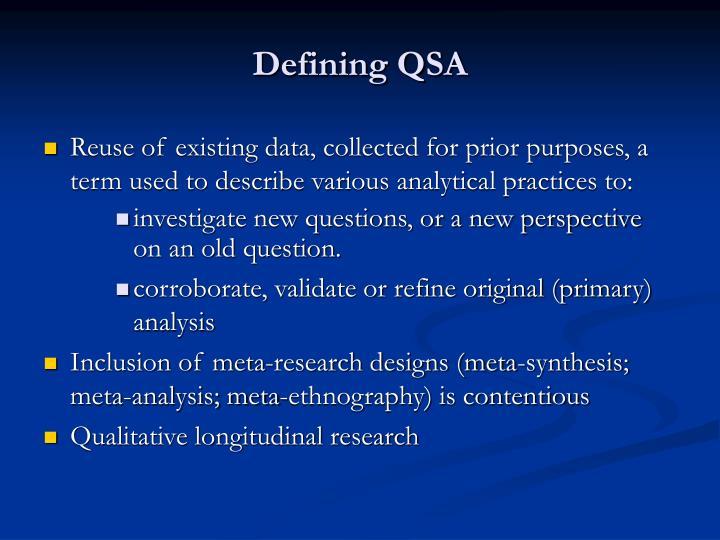 Defining QSA