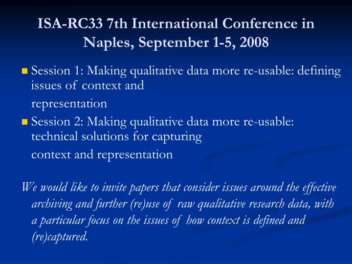 ISA-RC33 7th International Conference in Naples, September 1-5, 2008