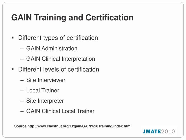 GAIN Training and Certification