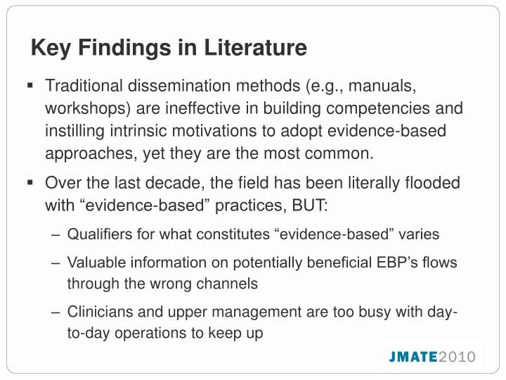 Key Findings in Literature
