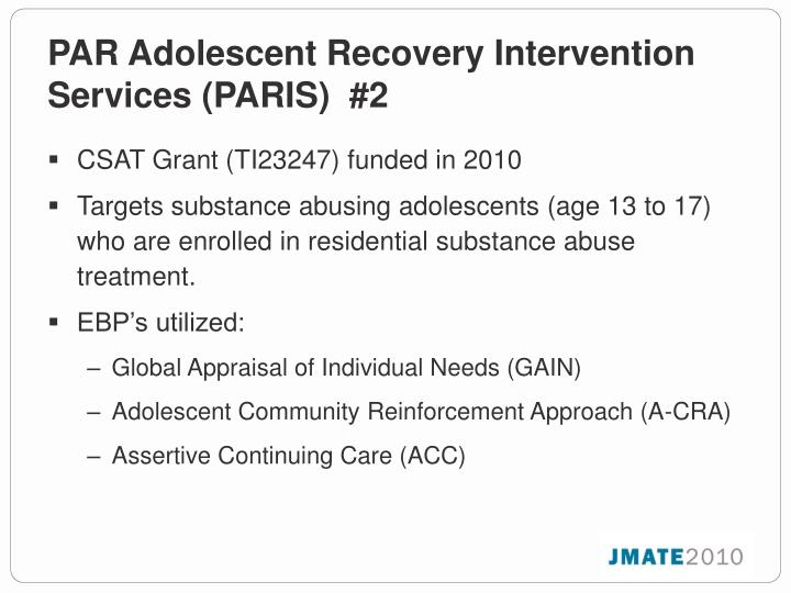 PAR Adolescent Recovery Intervention Services (PARIS)  #2