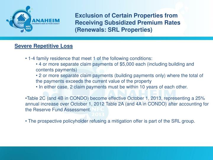 Exclusion of Certain Properties from Receiving Subsidized Premium Rates (Renewals: SRL Properties)