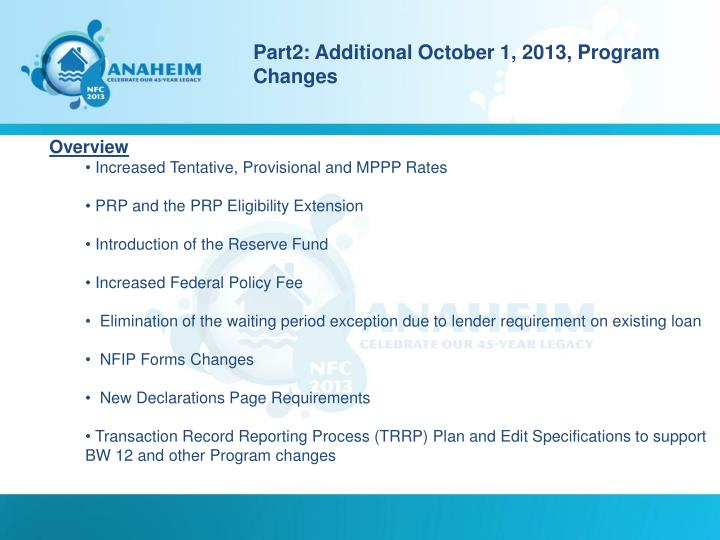 Part2: Additional October 1, 2013, Program Changes