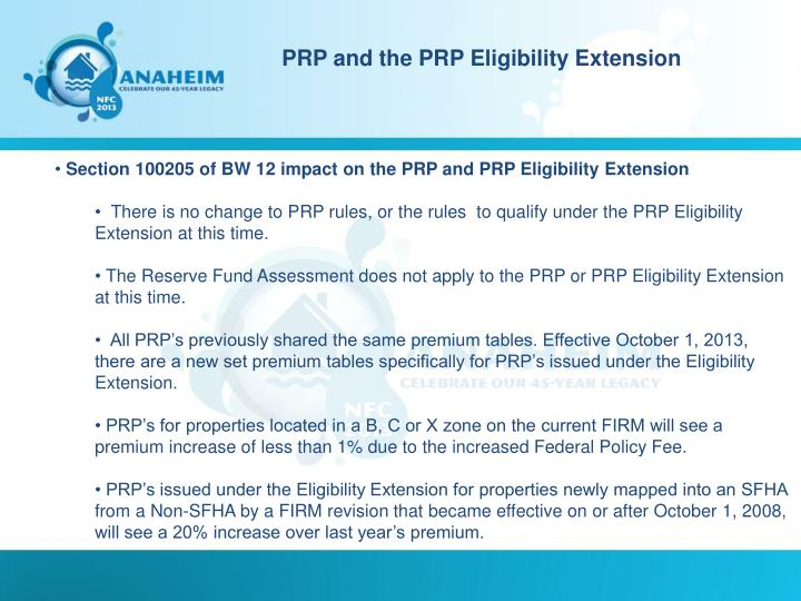 PRP and the PRP Eligibility Extension