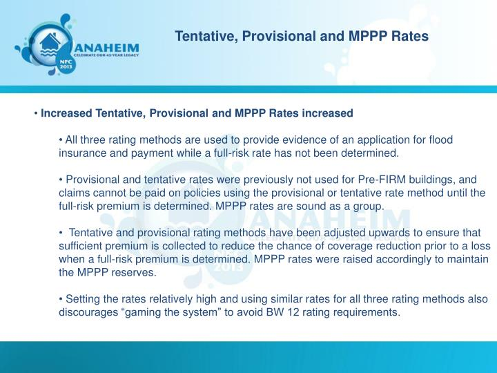 Tentative, Provisional and MPPP Rates