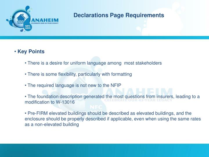 Declarations Page Requirements