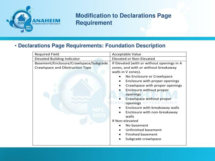 Modification to Declarations Page Requirement