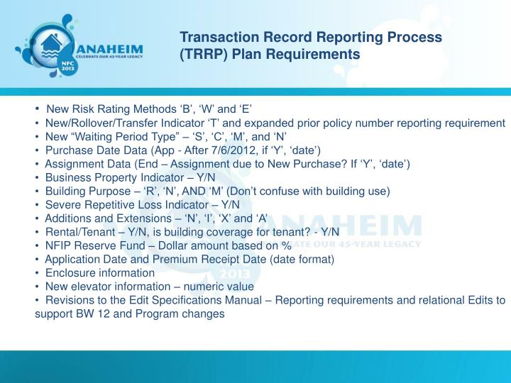 Transaction Record Reporting Process (TRRP) Plan Requirements