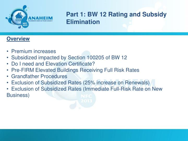 Part 1: BW 12 Rating and Subsidy Elimination