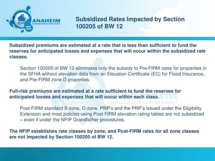 Subsidized Rates Impacted by Section 100205 of BW 12